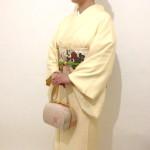 クリーム地輪奈ビロード裾模様訪問着 結婚式