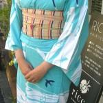 水色ツバメ柄浴衣 六花オリジナル 天神祭