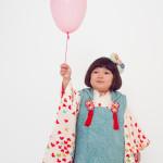 白地蝶々3歳女児 七五三