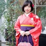 紅赤菊訪問着に袴 卒業式