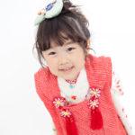 白地蝶々3歳女児 七五三 家族写真