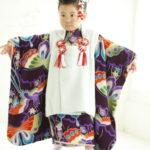 紫地蝶々と鳩アンティーク三歳女児 七五三