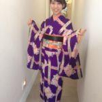 紫アンティーク小紋  町歩き
