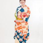 青地オレンジ菊柄振袖 成人式