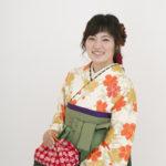 白地しだれ桜中振袖×袴 卒業式
