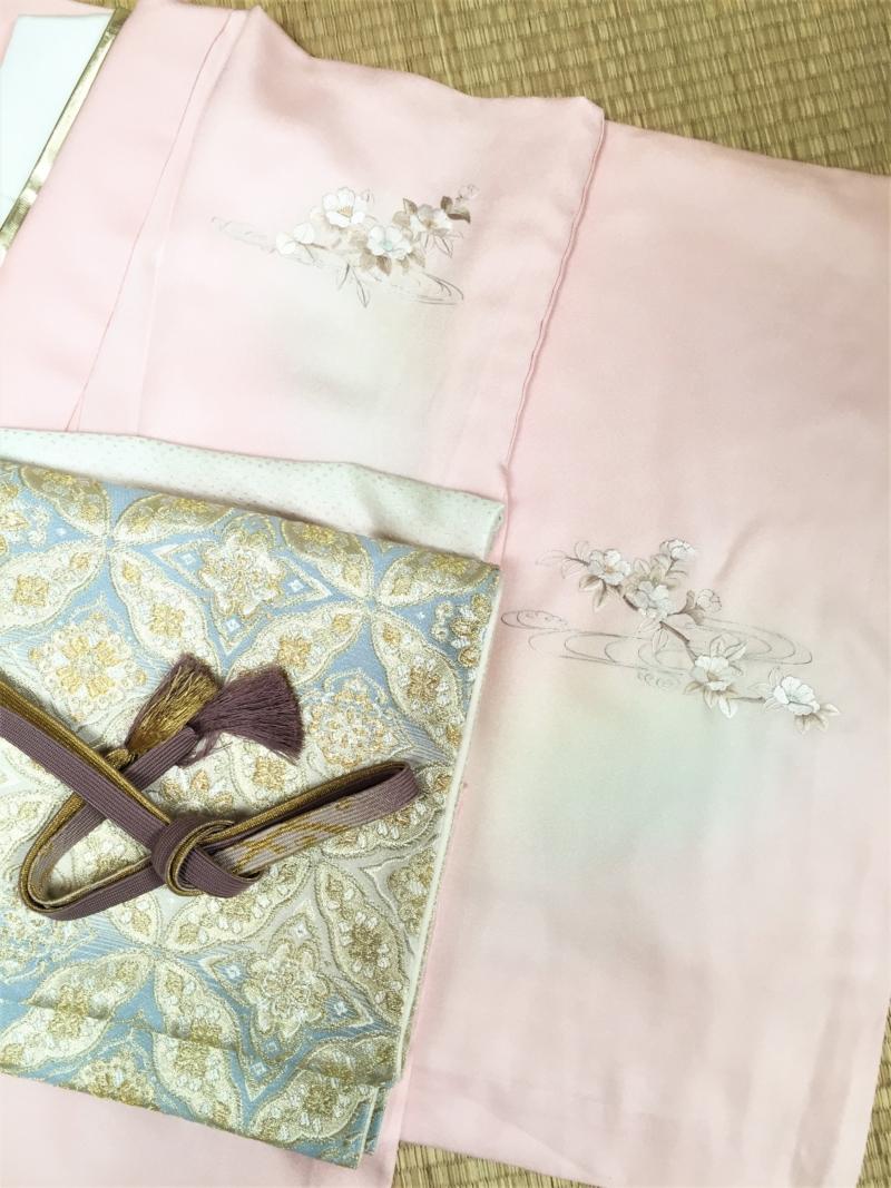 〈結婚式*ピンク地扇面刺繍単衣訪問着〉