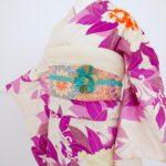白地紫洋花振袖 成人式
