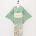 色留袖(紋ナシ) 緑地 松梅波柄