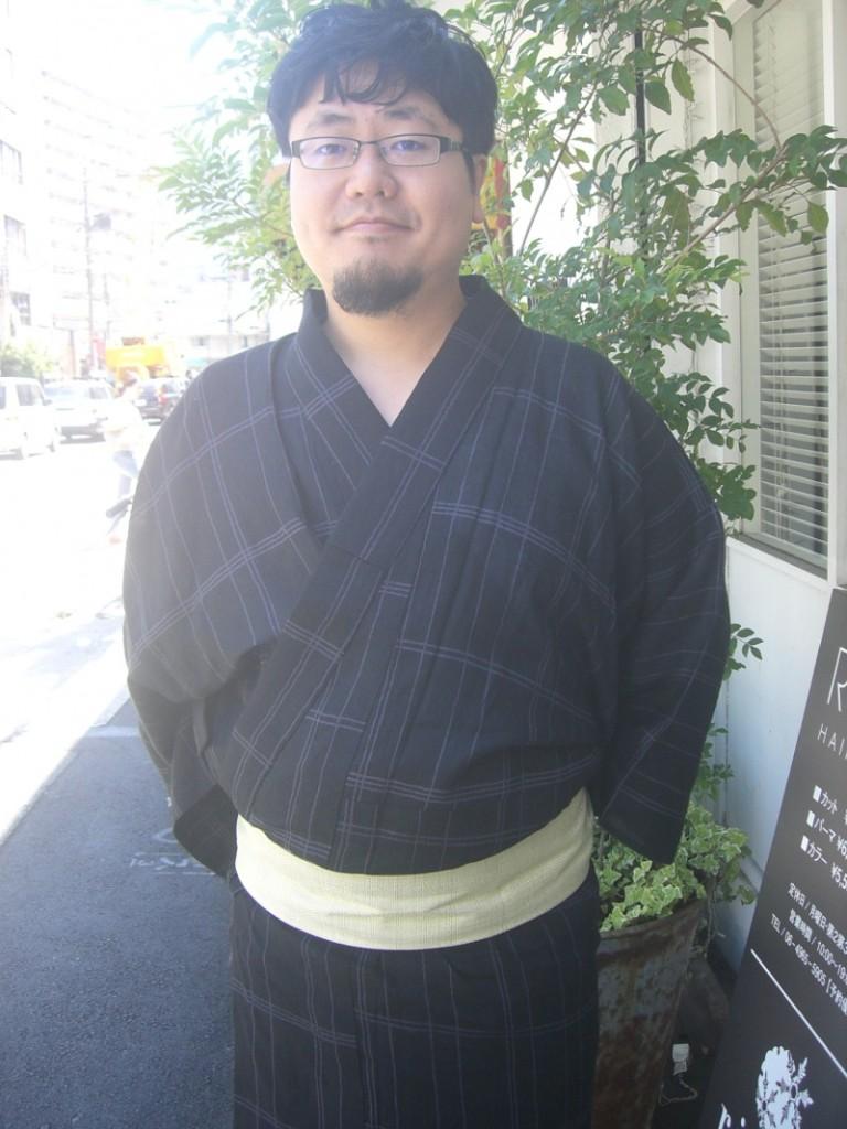 黒地格子綿麻 男性浴衣