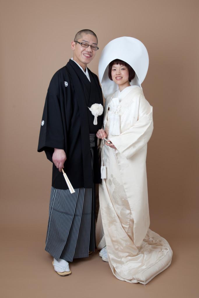 梅模様アンティーク白無垢 紋付袴