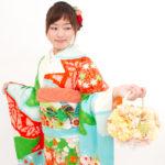 緑赤絞り刺繍振袖 成人式