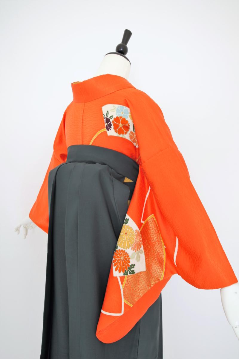 """251""""オレンジ扇面訪問着に袴"""