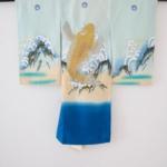 青地金刺繍鯉 お宮参り産着 初着 小物セット付き