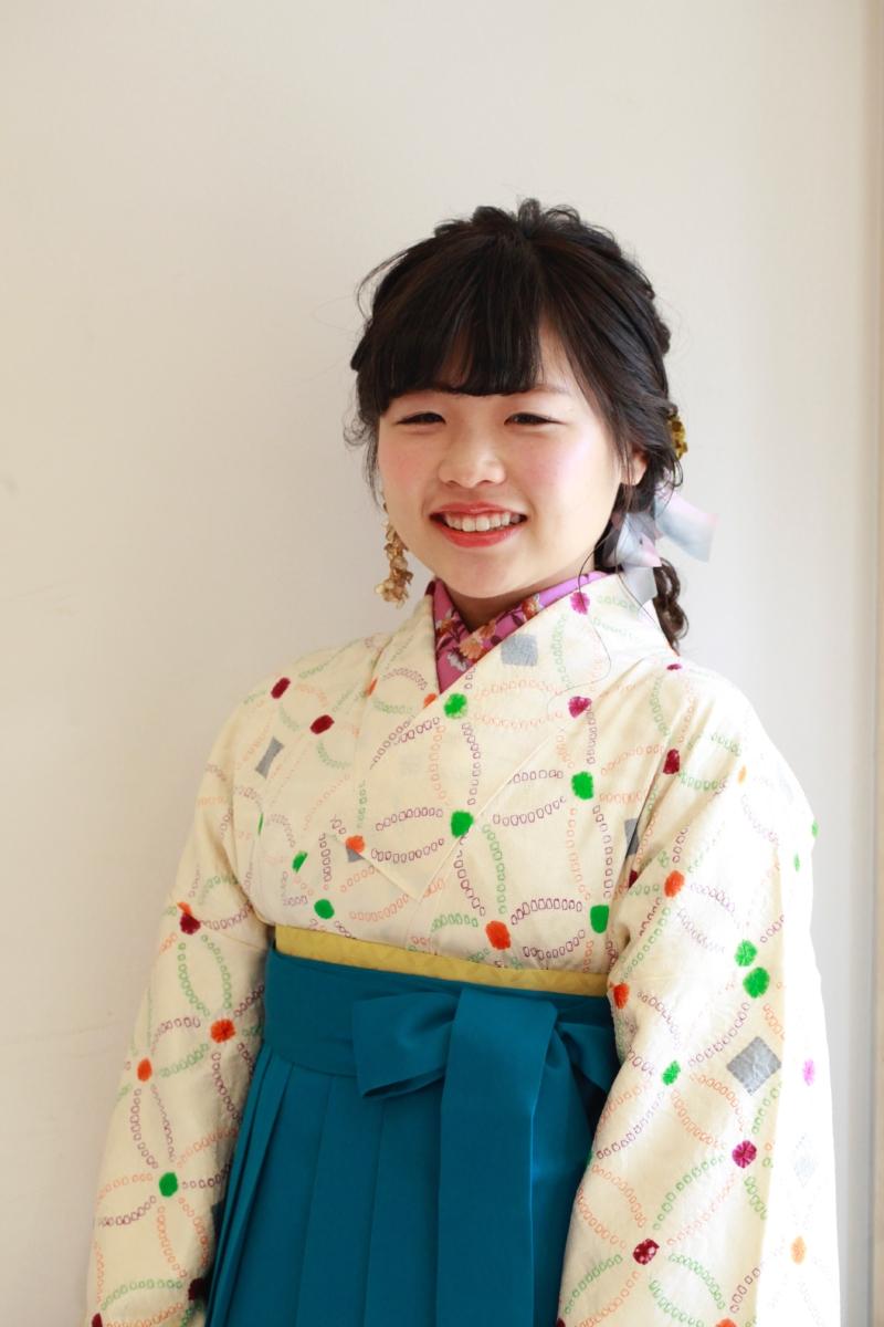 白地七宝絞り小紋×袴 卒業式