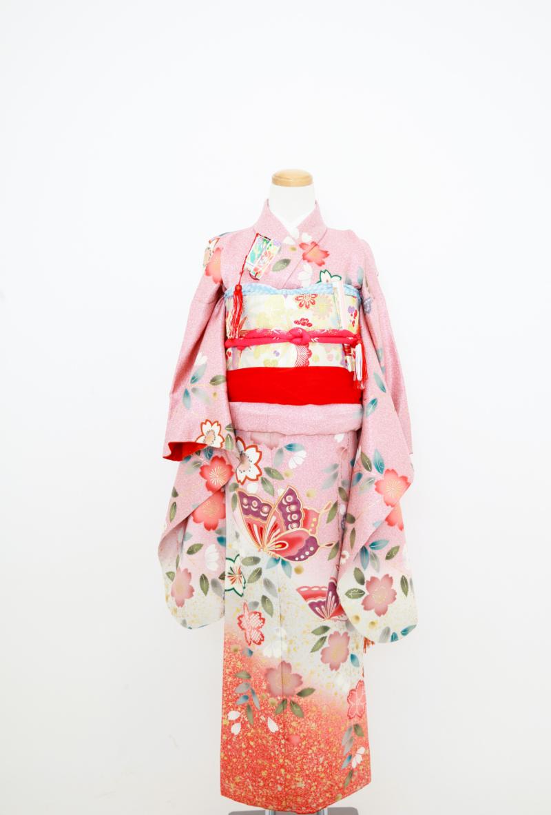 くすみピンク地桜 七五三