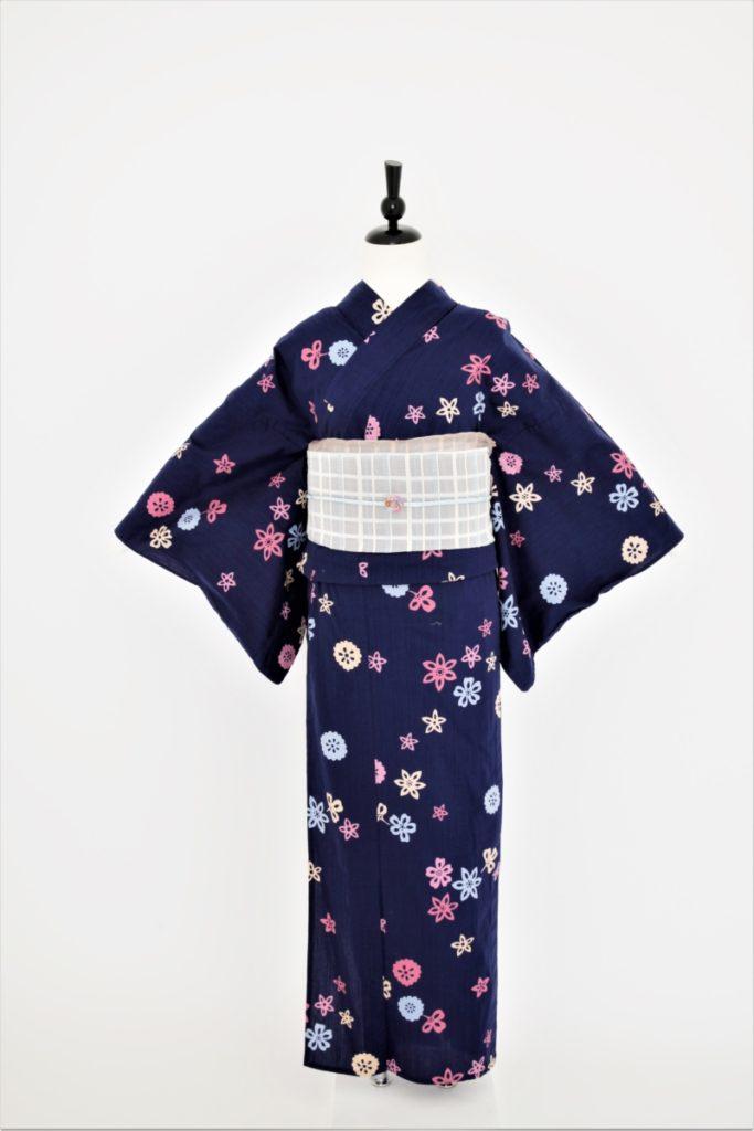 紫地カラフル花柄浴衣