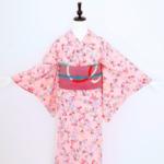 薄ピンク萩小紋