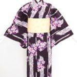 紫地小花浴衣