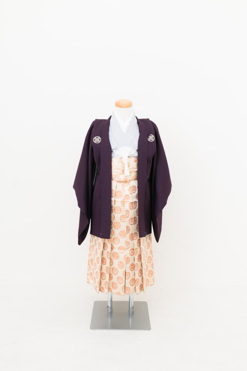 着物グレー羽織紫 七五三