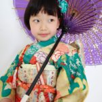 緑色アンティーク花柄 7歳女児 七五三