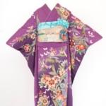 紫地洋花に蝶振袖