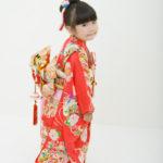 アンティーク赤花柄着物 3歳女児 七五三