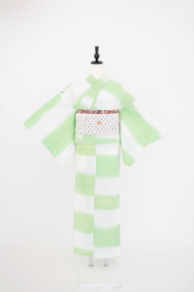 グリーン・白ぼかし浴衣