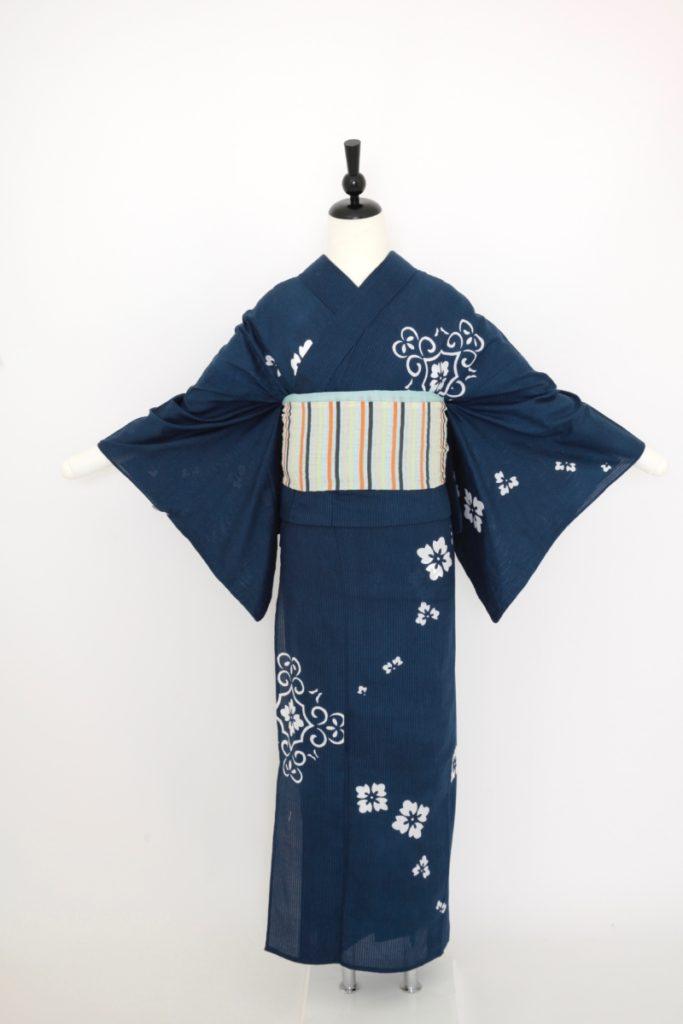 紺地綿絽浴衣