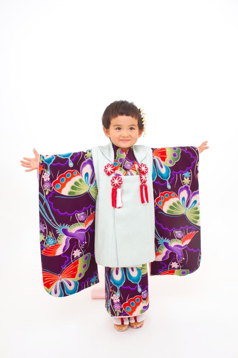 紫地蝶々アンティーク 七五三 家族写真