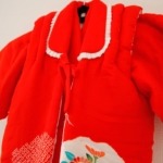 赤ちゃん用着物 赤地花かご