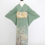 緑地松梅波(紋ナシ)色留袖