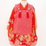 レンタル着物 七五三 女の子赤地小花蝶模様