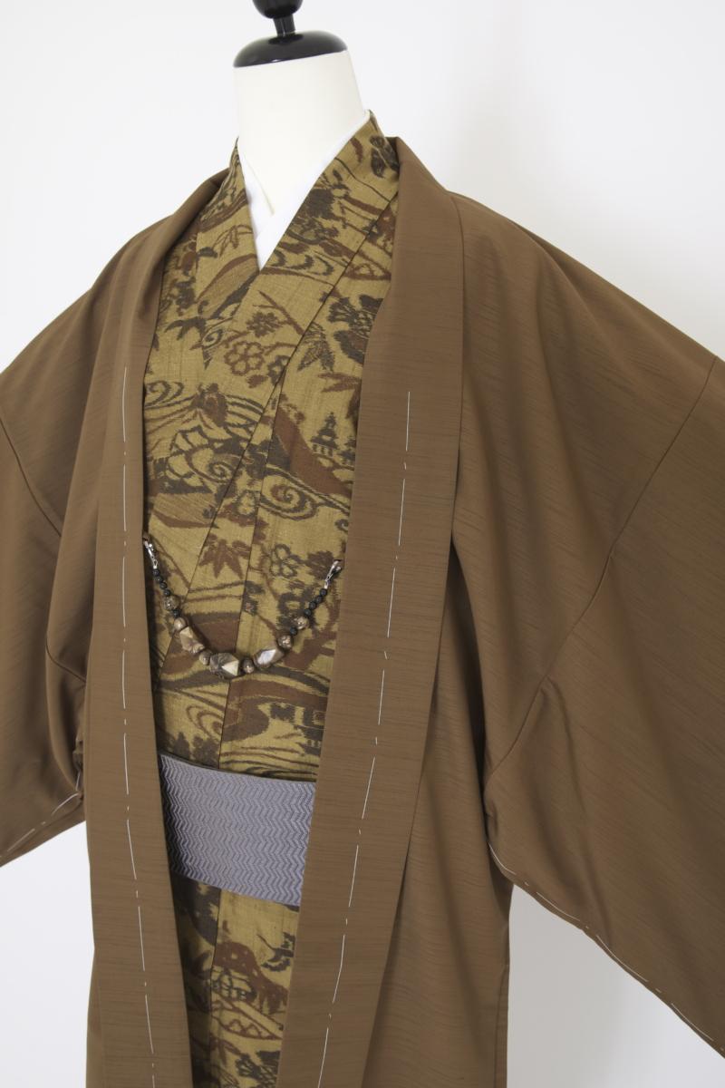 茶色羽織 昔話柄紬着物 男性着物
