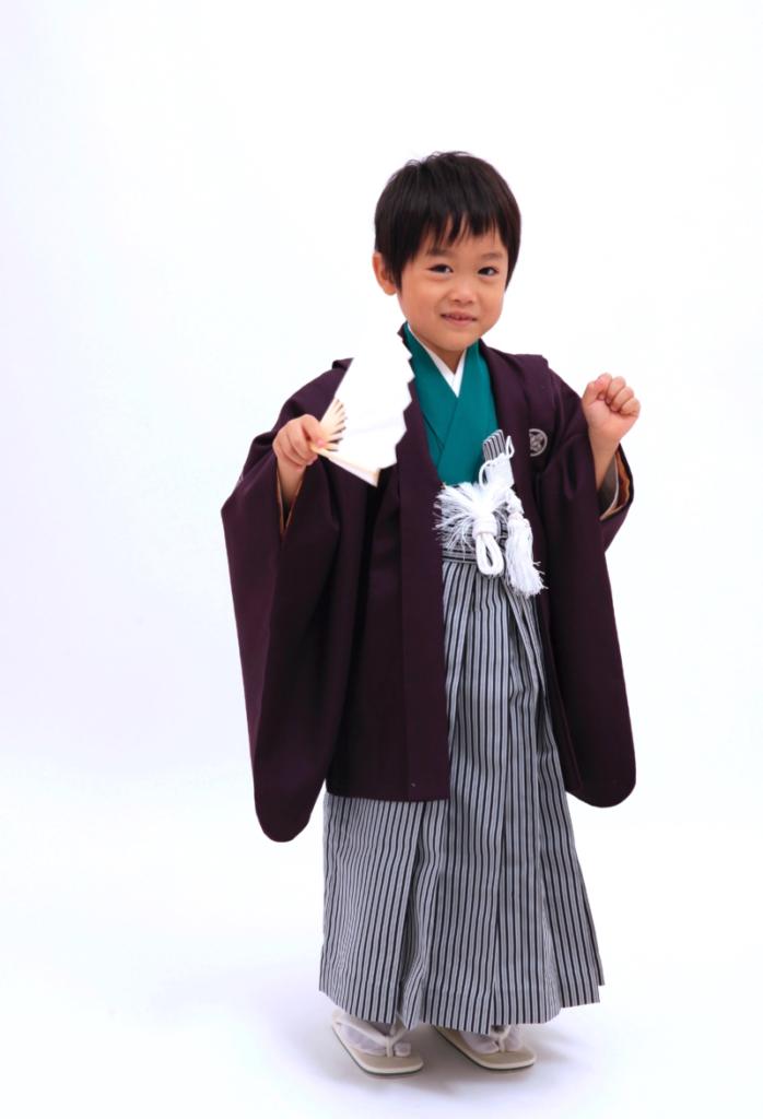 着物緑 羽織紫 七五三