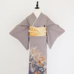 濃グレー菊(三つ紋)比翼付 色留袖