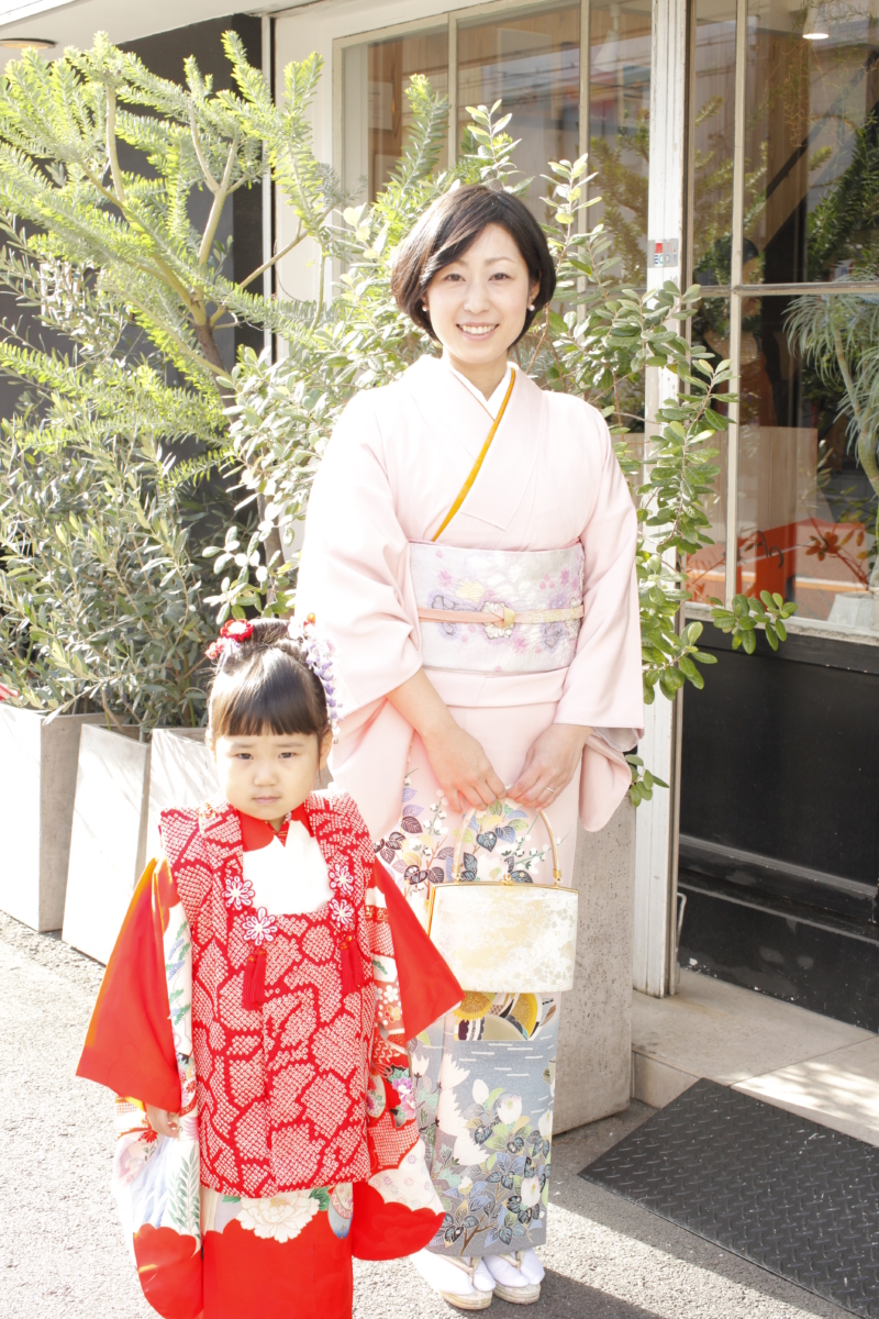 <レンタルきもの>七五三☆三歳女の子&ママ親子着物コーデ