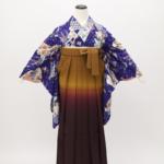 レンタルきもの 卒業式袴 青中振袖×茶色ぼかし袴