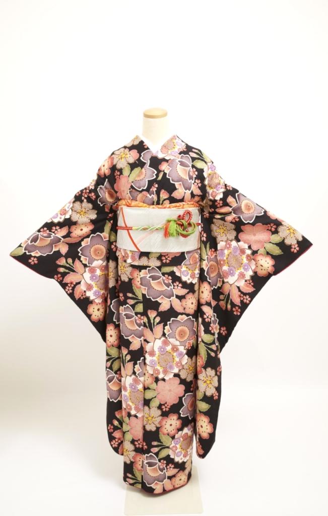 黒地桜小紋柄振袖