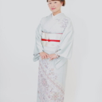 水色洋花文様訪問着 スワンmoko刺繍帯