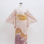 淡紅藤鶴(五つ紋)比翼付 色留袖