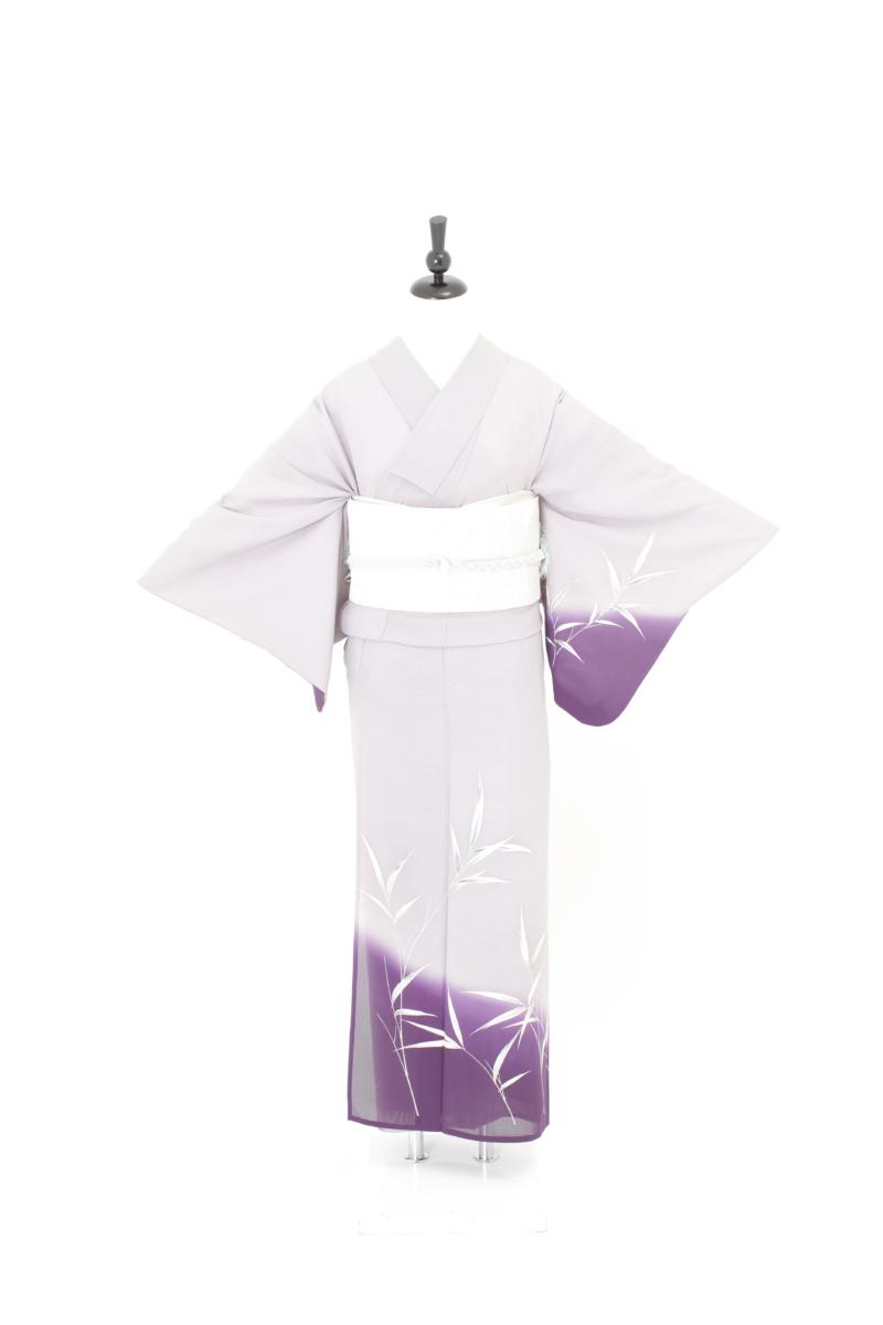 紫裾濃笹夏訪問着