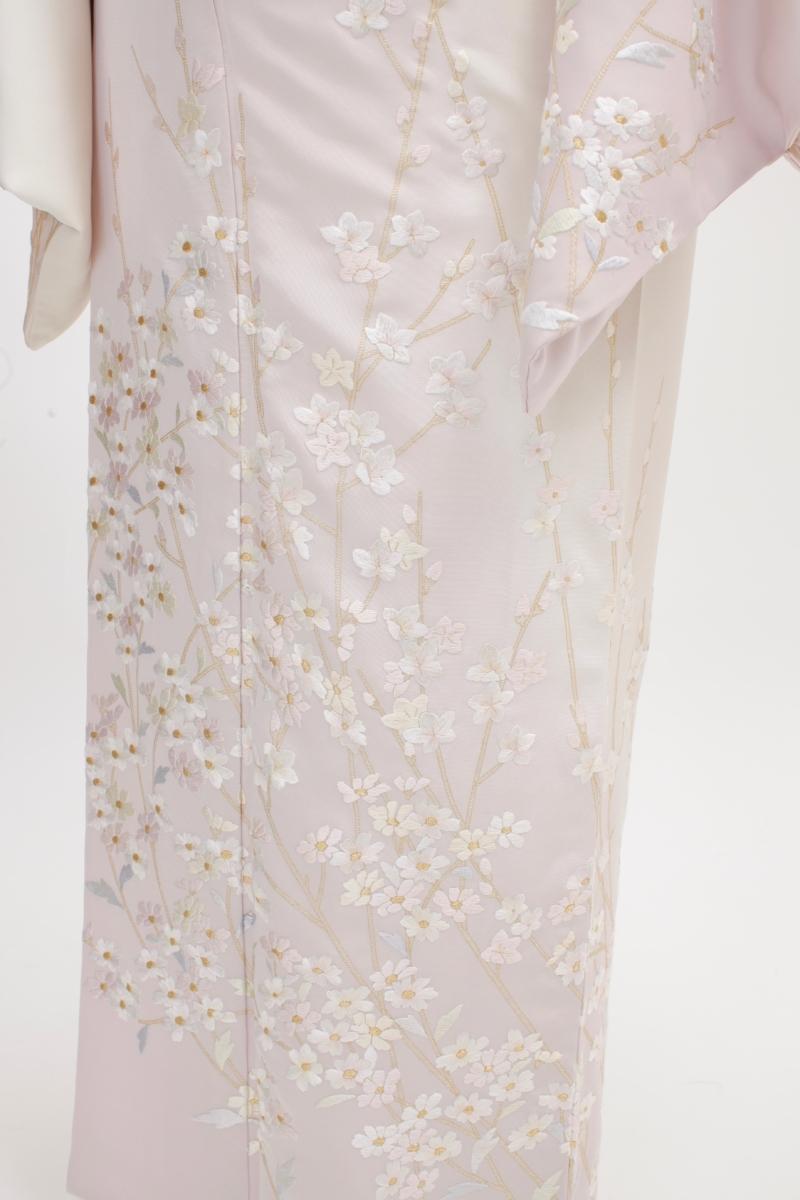 薄紫山桜刺繍