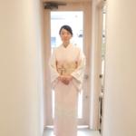 ピンク地桜花びら刺繍訪問着