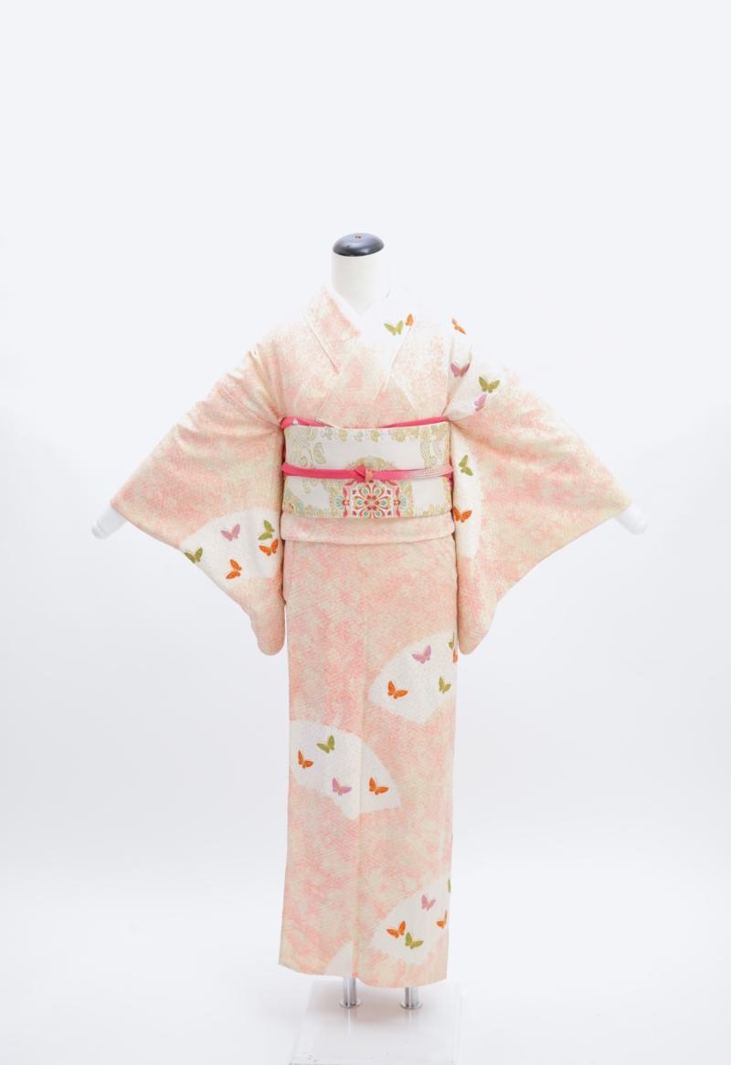 ピンクに蝶々刺繍単衣訪問着