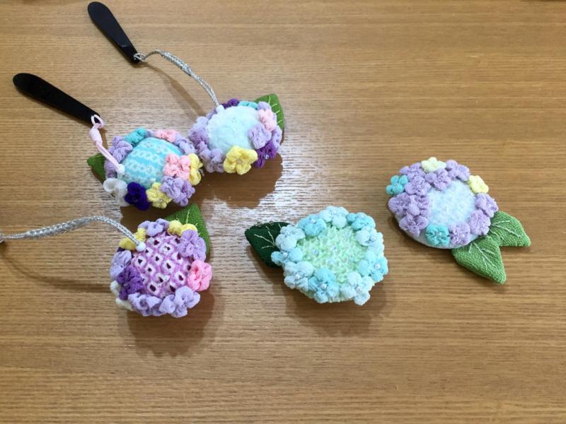 〈お細工教室〉6月は『額紫陽花』の根付けorブローチ