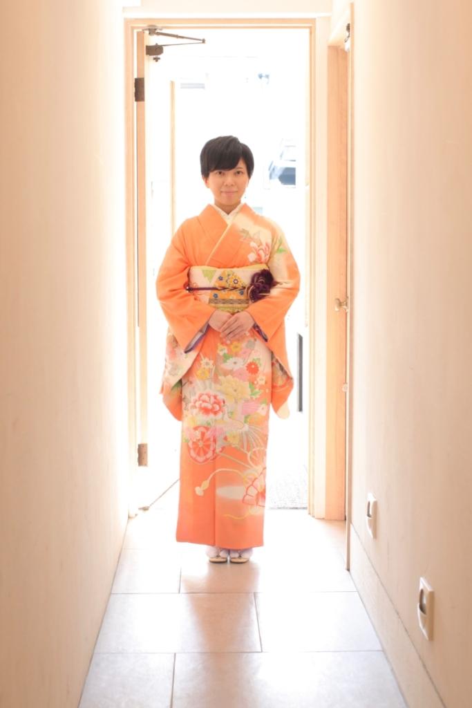 薄オレンジ鳳凰刺繍花車訪問着