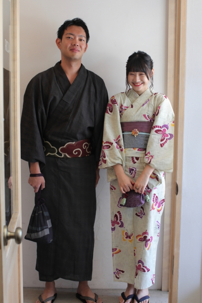 <レンタルきもの>花火大会へ。浴衣カップルコーディネート