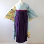 水色イエロー花柄振袖に紫袴