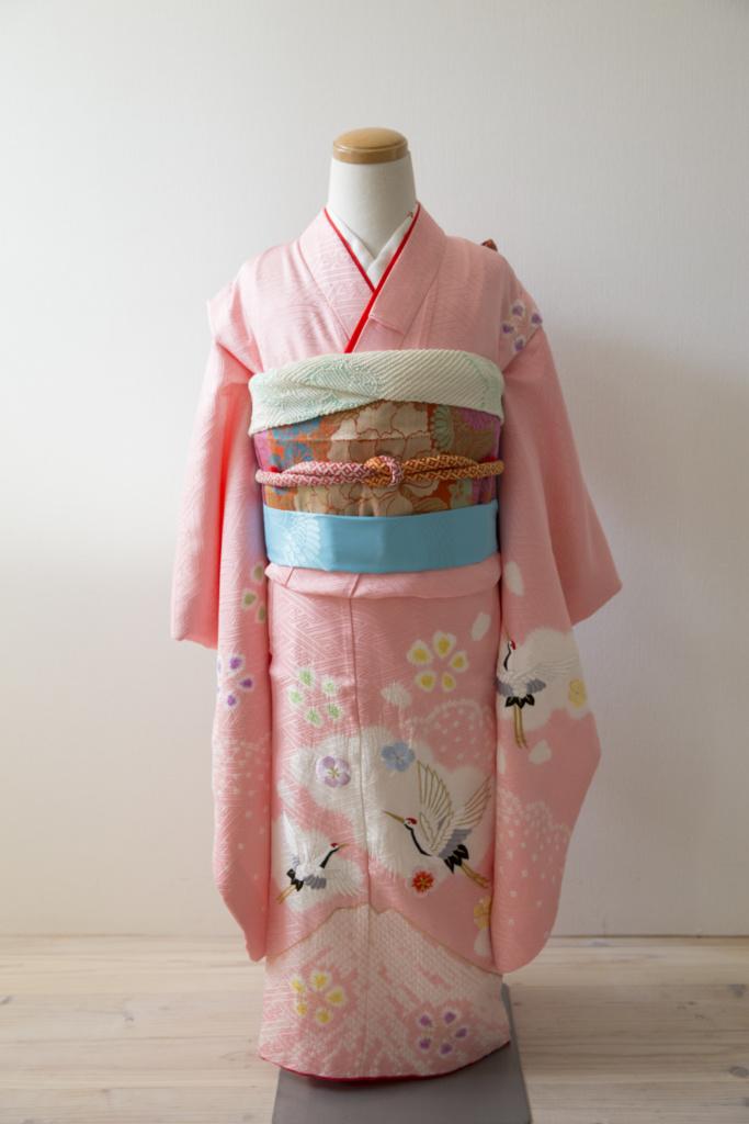 ピンク地富士に鶴 七歳女の子きもの