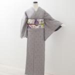 グレー紬に京袋